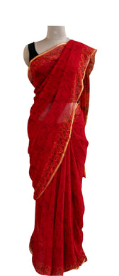Exclusive Red Pure Chiffon Block Printed Sarees with Blouse BPC4