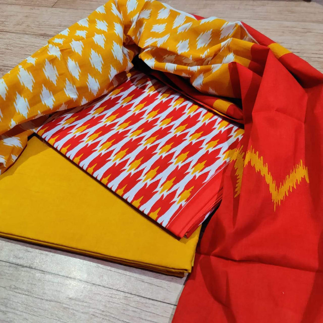 Exclusive Red Yellow Ikkat Print Cotton Salwar Kameez Dress Material with Cotton Dupatta BPIK05 - Ethnic's By Anvi Creations
