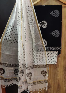 Exclusive Black Cotton Salwar Kameez Dress Material with Kota Dupatta BPK11