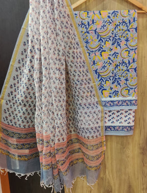 Exclusive Blue Cotton Salwar Kameez Dress Material with Kota Dupatta BPK12