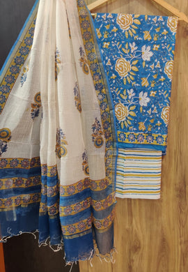 Exclusive Blue Cotton Salwar Kameez Dress Material with Kota Dupatta BPK14