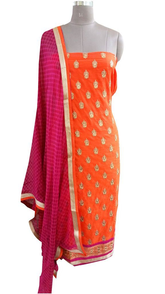 Designer Orange Cotton Embroidered Shalwar Kameez Dress Material BSD16 - Ethnic's By Anvi Creations