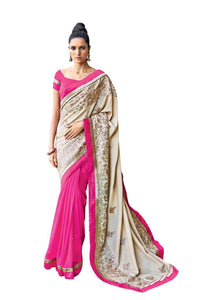 Designer Partywear Cream Pink Embroidered Georgette Satin Saree SC2571 - Ethnic's By Anvi Creations