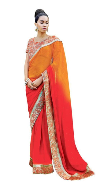 Designer Partywear Orange Red Embroidered Chiffon Saree SC2576
