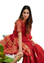 Charger l'image dans la galerie, Designer Red Linen Silk Weaven Saree BL2209 - Ethnic's By Anvi Creations
