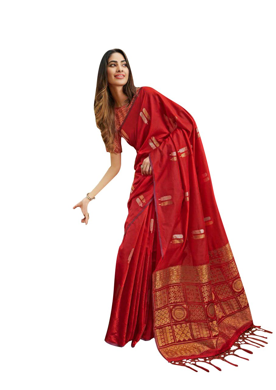 Designer Red Linen Silk Weaven Saree BL2209 - Ethnic's By Anvi Creations