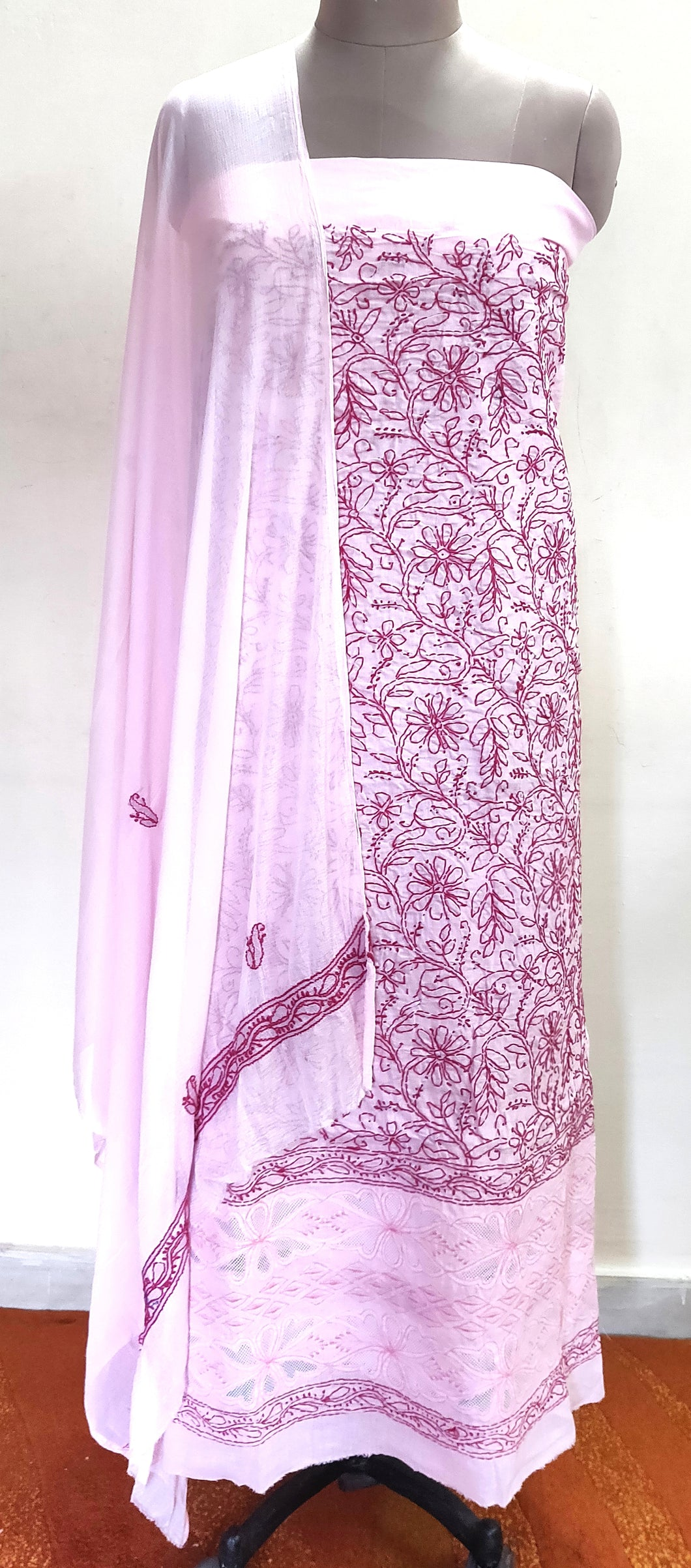 Designer Pink Cotton Chikankari Lakhnavi Embroidered Dress Material CHKS04