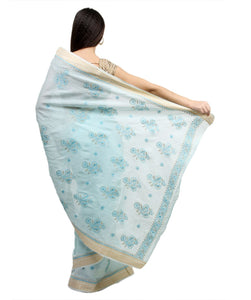 Turquoise Blue Paisley Chikankari Work handloom Cotton saree