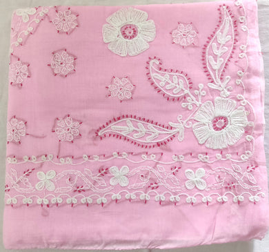 Pink Hand Embroidered Chikankari Lakhnavi Cotton Saree CK08 - Ethnic's By Anvi Creations