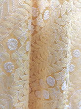 Load image into Gallery viewer, Hand Embroidered Heavy Chikankari Yellow Chiffon Saree CK24