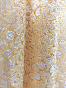 Hand Embroidered Heavy Chikankari Yellow Chiffon Saree CK24