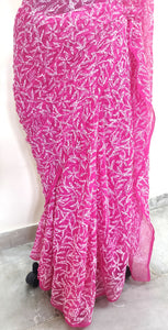 Pink All Over Hand Embroidered Chikankari Lakhnavi Chiffon Saree CK25
