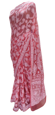 Hand Embroidered Heavy Chikankari Carrot Pink All Over Chiffon Saree CK34