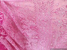 Load image into Gallery viewer, Hand Embroidered Heavy Chikankari Deep Pink Chiffon Saree CK38