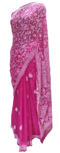 Hand Embroidered Heavy Chikankari Deep Pink Chiffon Saree CK38