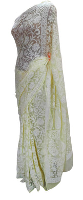 Hand Embroidered Heavy Chikankari Lemon Yellow All Over Chiffon Saree CK40