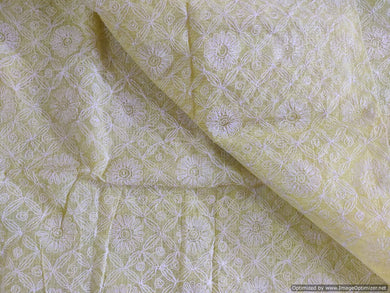 Lemon Yellow Hand Embroidered Tepchi work Chikankari Lakhnavi Kota Cotton Saree CK47