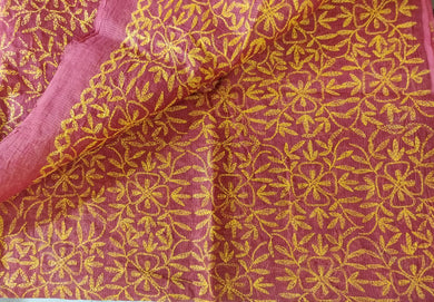 Pink Hand Embroidered Tepchi work Chikankari Lakhnavi Kota Cotton Saree CK48
