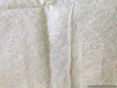 Light Green Hand Embroidered Tepchi work Chikankari Lakhnavi Kota Cotton Saree CK49