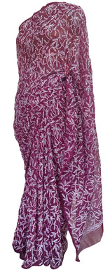 Deep Purple All Over Hand Embroidered Chikankari Lakhnavi Chiffon Saree CK54