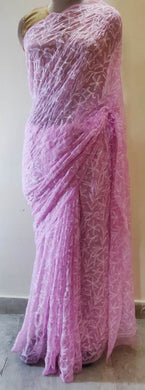 Pinkish Mauve All Over Hand Embroidered Chikankari Lakhnavi Chiffon Saree CK62
