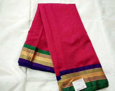 Exclusive Pink Chanderi Cotton Silk Saree with Golden Blue Border CS47