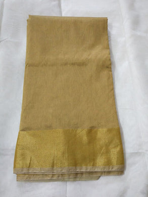 Exclusive Beige Chanderi Cotton Silk Saree Golden Zari Border CS48