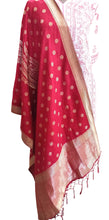 Load image into Gallery viewer, Designer Maroonish Red Dupion Silk Zari Weaven Banarasi Dupatta DP20
