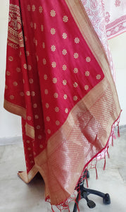 Designer Maroonish Red Dupion Silk Zari Weaven Banarasi Dupatta DP20 - Ethnic's By Anvi Creations