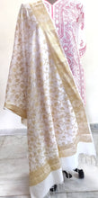 Load image into Gallery viewer, Designer White Dupion Silk Weaven Banarasi Dupatta DP26
