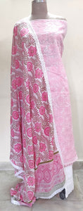 Designer Crochet Border Pink White Block Printed Mulmul Cotton Dupatta DP32