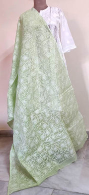 Exclusive Light Green Tepchi Chikankari Cotton Kota Dupatta DP42