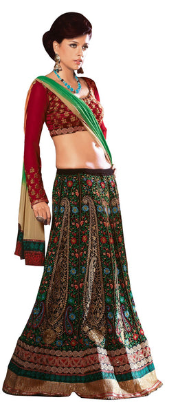 Black Multi Green Raw Silk Chiffon Embroidered Lehenga Style Saree SC2107 - Ethnic's By Anvi Creations