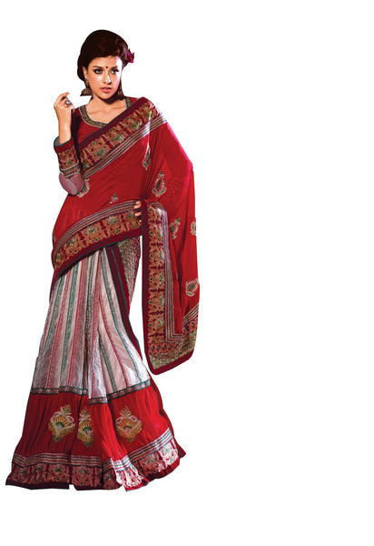 Red White Embroidered Georgette Net Lehenga Style Saree SC2122 - Ethnic's By Anvi Creations