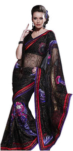 Designer Black Net Embroidered saree SC114 - Ethnic's By Anvi Creations