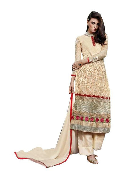 Elan Pakistani Replica Beige Georgette Embroidered Dress Material SC3302