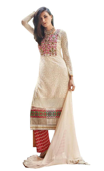 Elan Pakistani Replica Beige Georgette Embroidered Dress Material SC3304