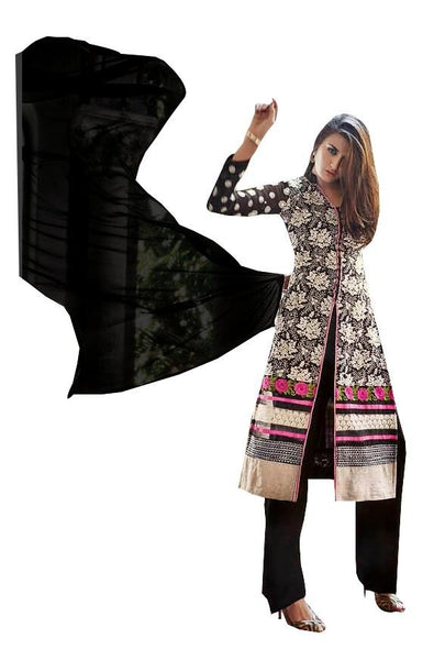 Elan Pakistani Replica Black Georgette Embroidered Dress Material SC3306