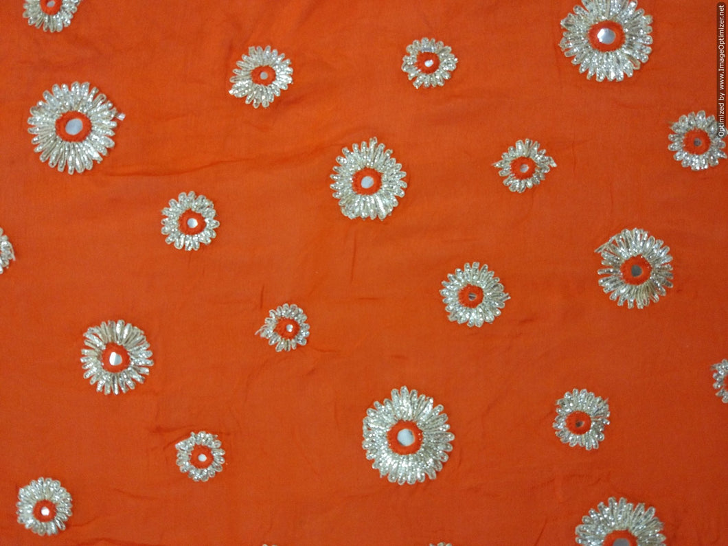 Designer Chinon Orange Gotta faux Mirror Embroidered Fabric for Blouse, Crop Top , Kurti Pre Cut 1.5 Meters (152 Cms) FAB07 - Ethnic's By Anvi Creations