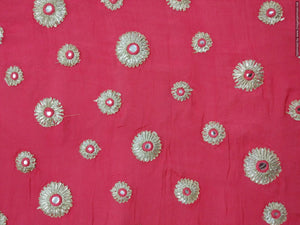 Designer Chinon Carrot Pink Embroidered Fabric FAB09 - Ethnic's By Anvi Creations