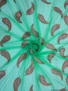 Designer Net Turquoise Zari stone Embroidered Fabric for Dupatta ,saree Pre Cut 2.5 Meters (255 Cms) - Ethnic's By Anvi Creations