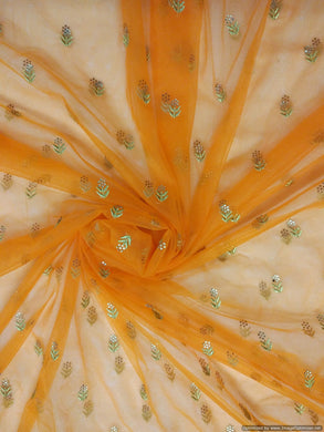 Designer Net Orange Zari Pasted Diamond Embroidered for for Lehenga , saree, Gown, Dupatta - Ethnic's By Anvi Creations