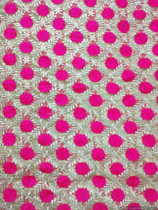 Designer Net Beige Pink Resham Embroidered For Blouse Crop Top, Kurti - Ethnic's By Anvi Creations