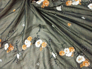 Designer Chiffon Black Silver Tissue Lined Chiffon Fabric Embroidered  With Sequins and Thread for Crop Top Cut 1.8 Meter ( 185 cms ) - Ethnic's By Anvi Creations