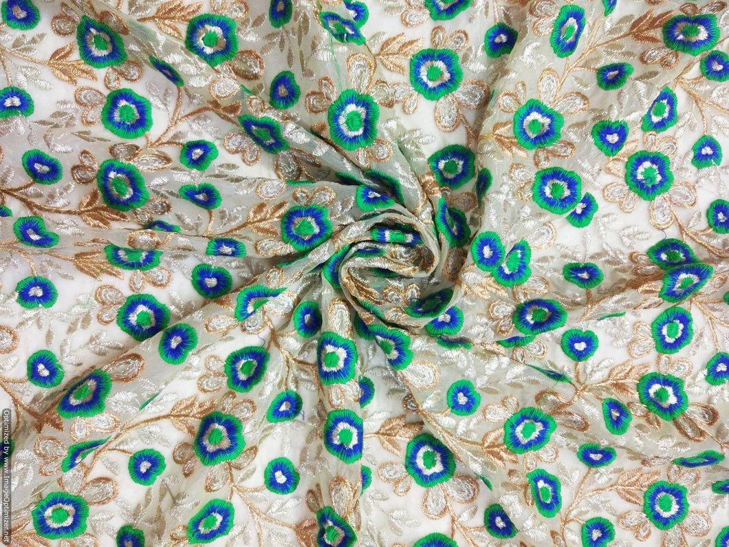 Designer Net Beige Blue Green Gold Resham Work Embroidered Fabric for Blouse Crop Top Cut 1 Meter ( 104 cms ) FAB064 - Ethnic's By Anvi Creations