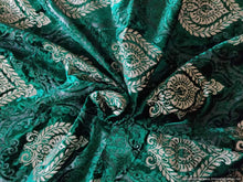 Load image into Gallery viewer, Green Paisley Motif Foil Print Velvet Fabric FAB143