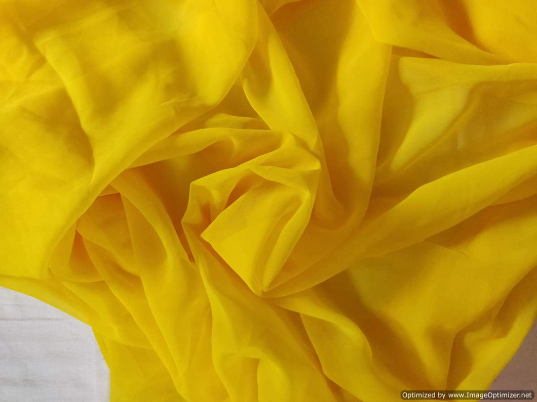 Designer Deep Yellow Georgette Fabric Pre Cut 6 Meters FAB145