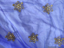 Load image into Gallery viewer, Designer Blue Net Embroidered Fabric Pre Cut 2.5 Meters FAB152