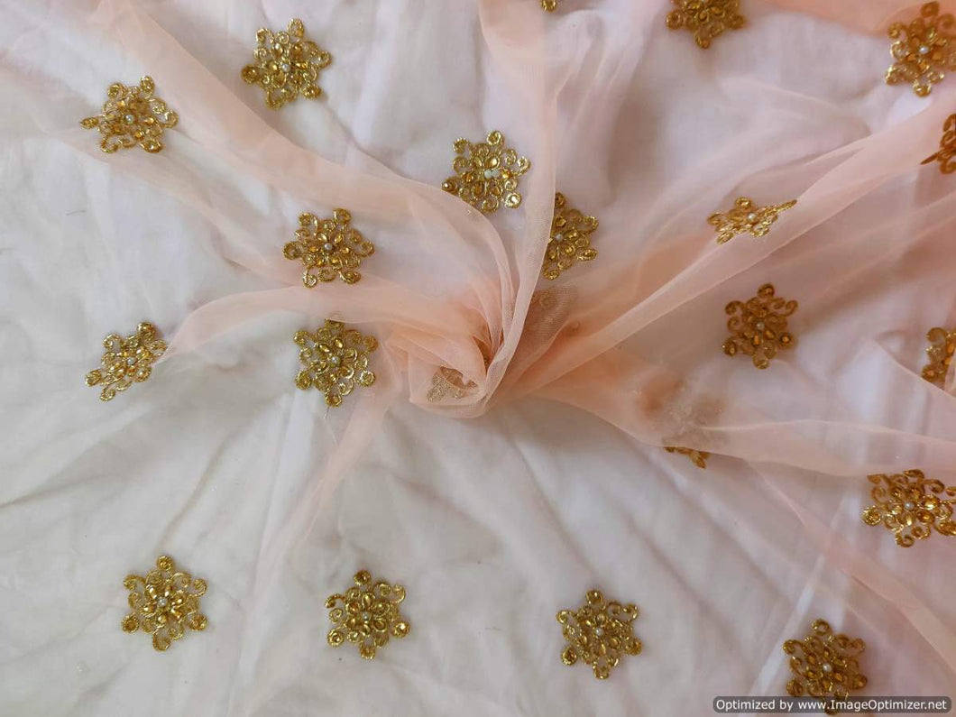 Designer Peach Net Embroidered Fabric FAB161