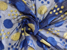 Load image into Gallery viewer, Blue Gold Weave Jequard Georgette Fabric Pre Cut 6 Meters FAB172